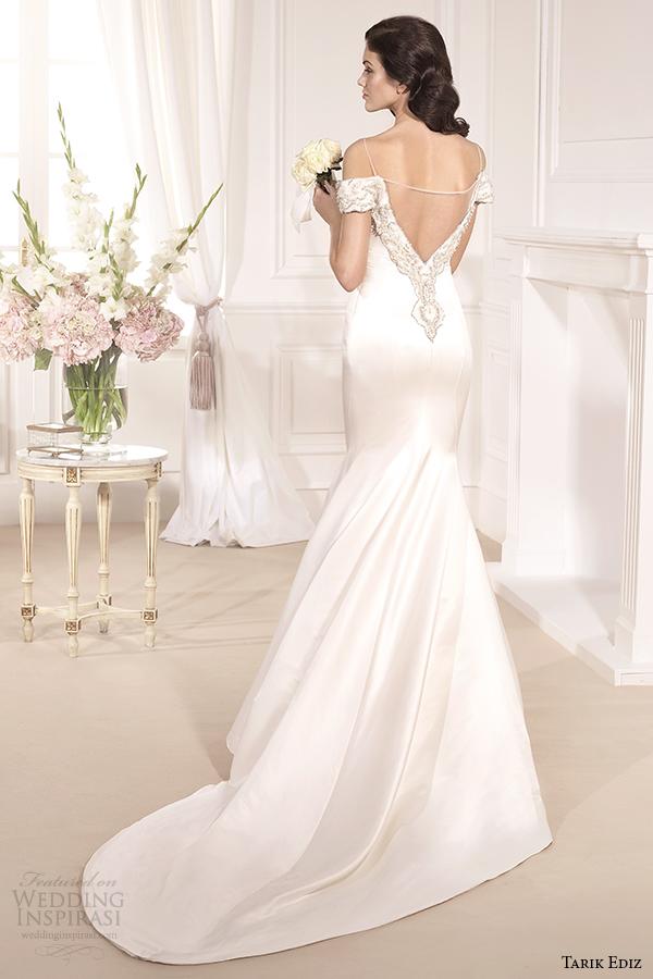 tarik ediz 2014 bridal collection off the shoulder mermaid wedding dress cassandra back view g1133