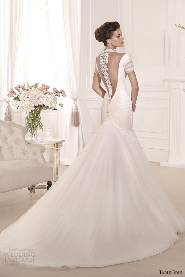 tarik ediz 2014 bridal collection off the shoulder mermaid wedding dress yosun back