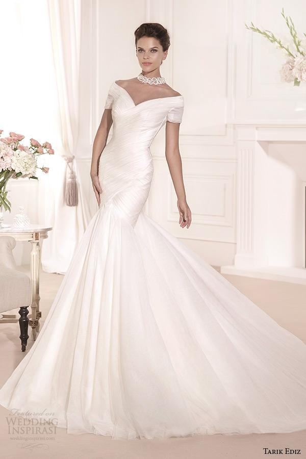 tarik ediz 2014 bridal collection off the shoulder mermaid wedding dress yosun