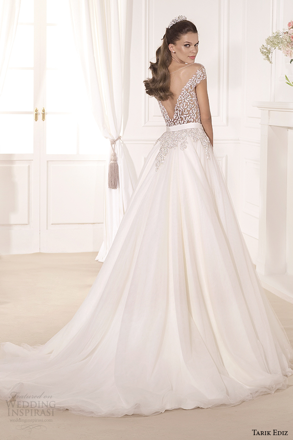 tarik ediz 2014 bridal collection off the shoulder sweetheart a line wedding dress back gul