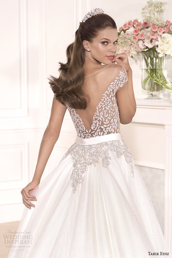 tarik ediz 2014 bridal collection off the shoulder sweetheart a line wedding dress back zoom gul