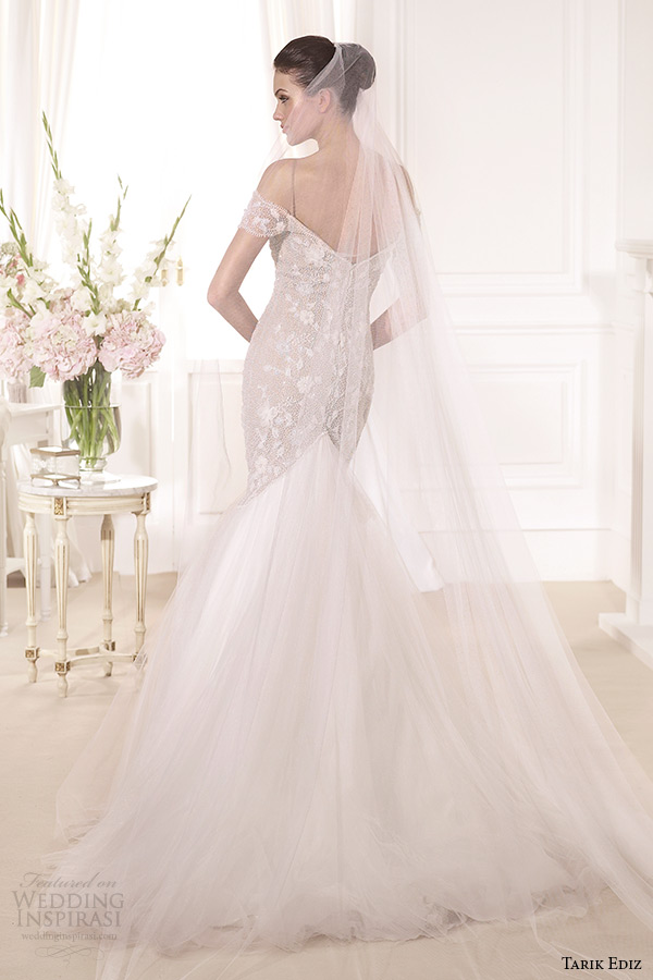 tarik ediz 2014 bridal collection off the shoulder sweetheart mermaid blush wedding dress back lataya