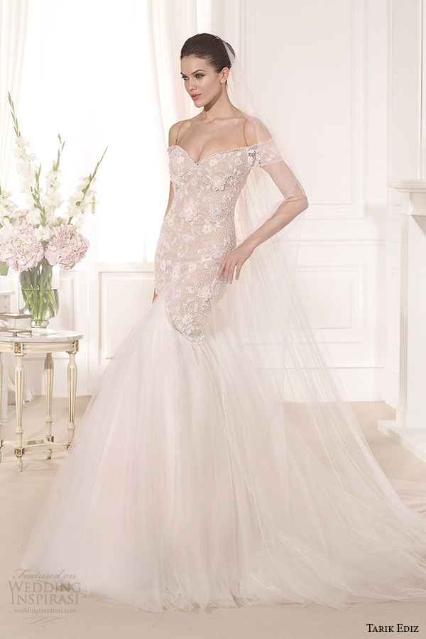 tarik ediz 2014 bridal collection off the shoulder sweetheart mermaid blush wedding dress lataya