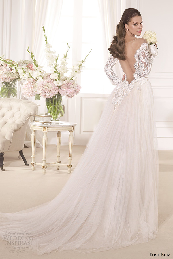 tarik ediz 2014 bridal collection off the shoulder sweetheart sheath detachable train wedding dress kardelen back