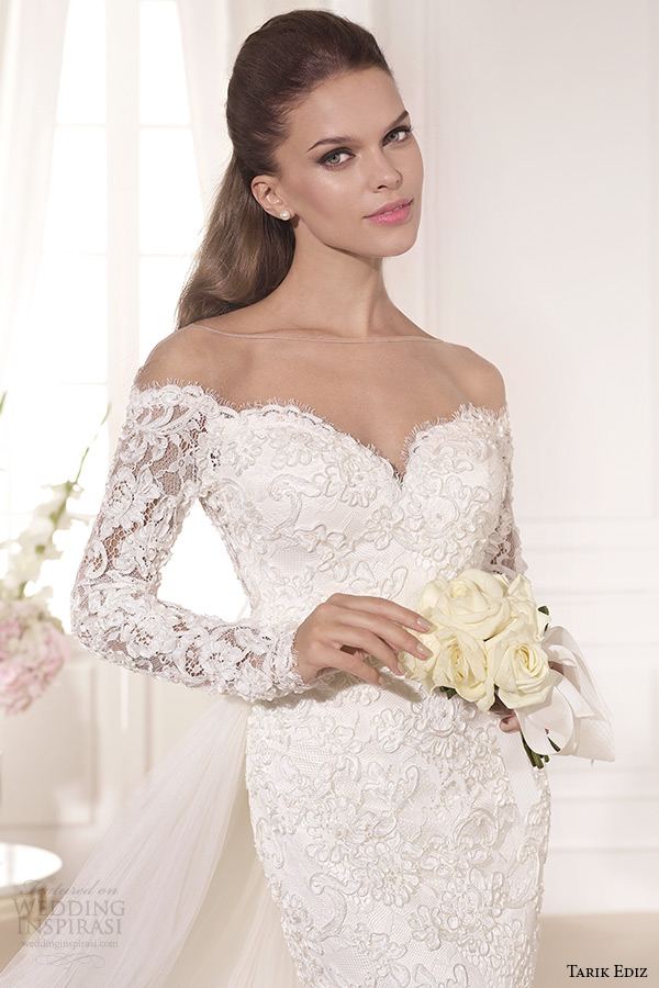 tarik ediz 2014 bridal collection off the shoulder sweetheart sheath detachable train wedding dress kardelen