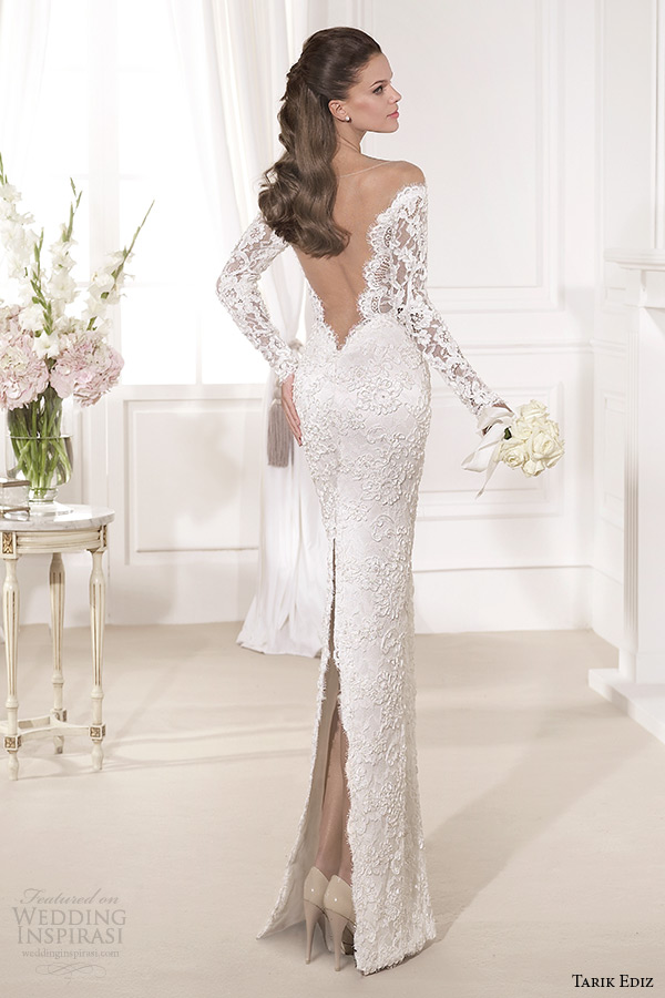 tarik ediz 2014 bridal collection off the shoulder sweetheart sheath wedding dress back kardelen