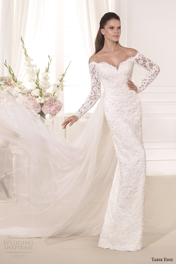 tarik ediz 2014 bridal collection off the shoulder sweetheart sheath wedding dress kardelen