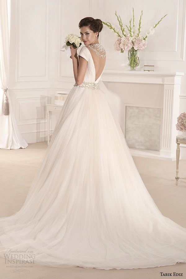 tarik ediz 2014 bridal collection off the shoulder v neck short sleeve a line wedding dress back mimoza