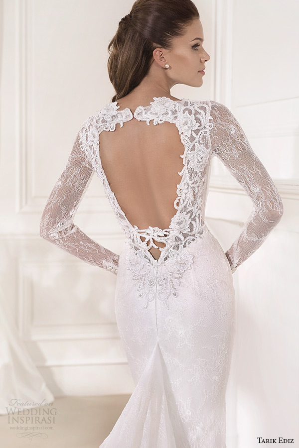 tarik ediz 2014 bridal collection plunging neckline long sleeves sheath wedding dress mine back zoom