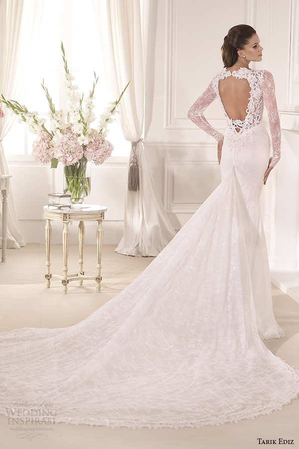 tarik ediz 2014 bridal collection plunging neckline long sleeves sheath wedding dress mine back