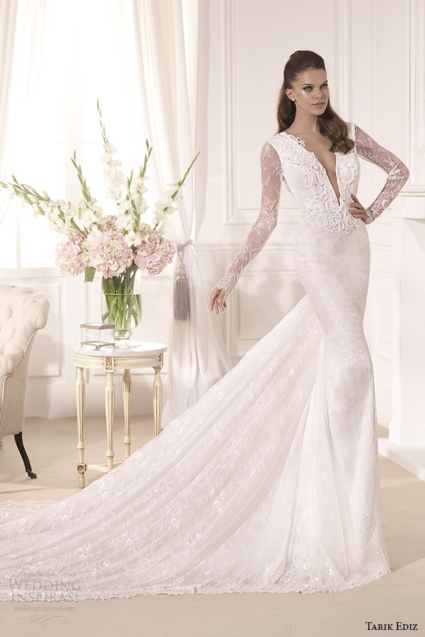 tarik ediz 2014 bridal collection plunging neckline long sleeves sheath wedding dress mine