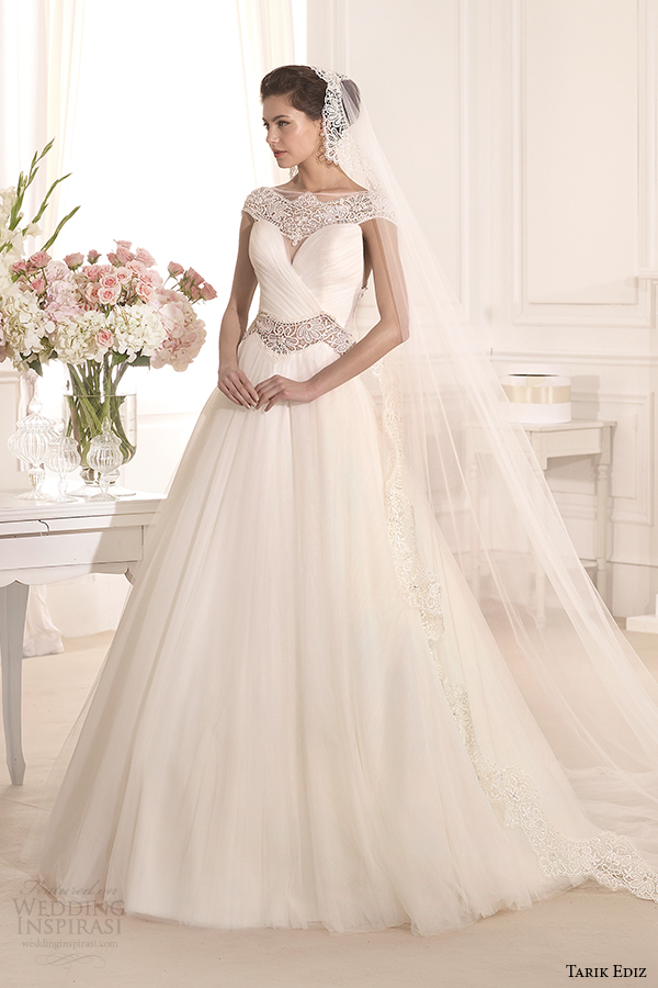 tarik ediz 2014 bridal collection scoop a line wedding dress 1 akasya g1120