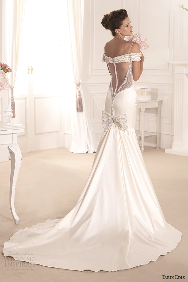 tarik ediz 2014 bridal collection spagetti strap trumpet wedding dress court train gonca g1117 back