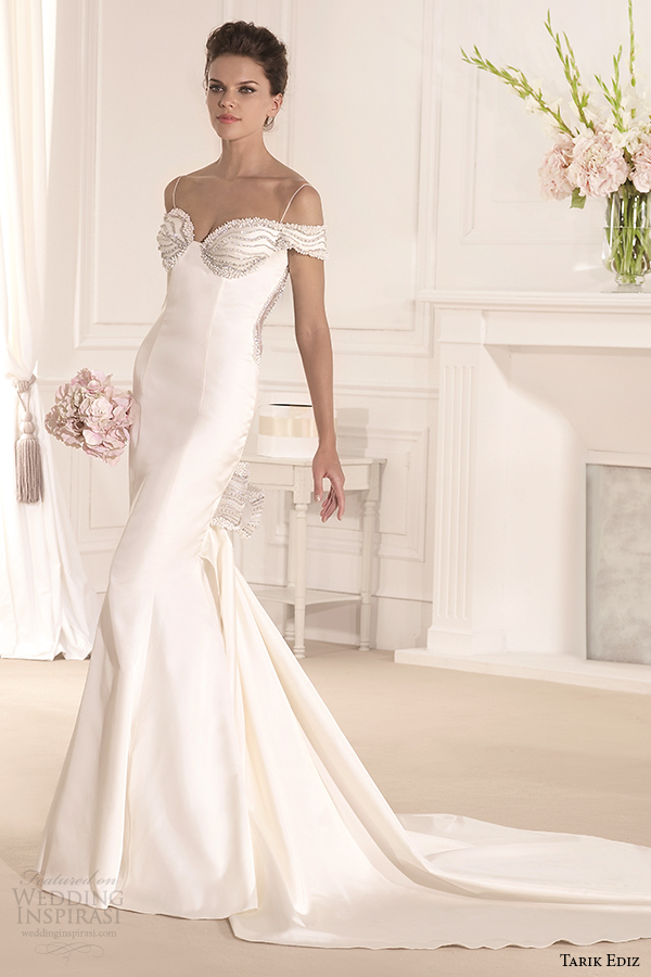 tarik ediz 2014 bridal collection spagetti strap trumpet wedding dress court train gonca g1117