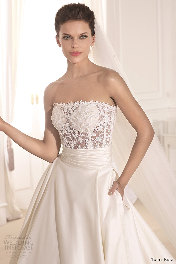 tarik ediz 2014 bridal collection strapless straight across a line pockets front zoom fulya g1130