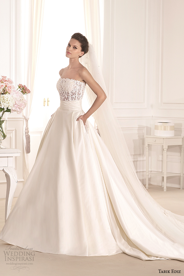 tarik ediz 2014 bridal collection strapless straight across a line pockets fulya g1130