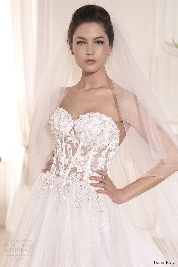 tarik ediz 2014 bridal collection strapless sweetheart a line wedding dress front zoom muge