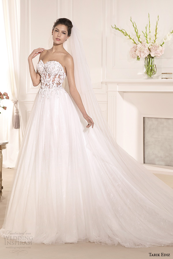 tarik ediz 2014 bridal collection strapless sweetheart a line wedding dress muge