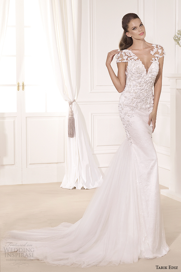 tarik ediz 2014 bridal collection sweetheart cap sleeves fit and flare wedding dress 1 gardenya g1119