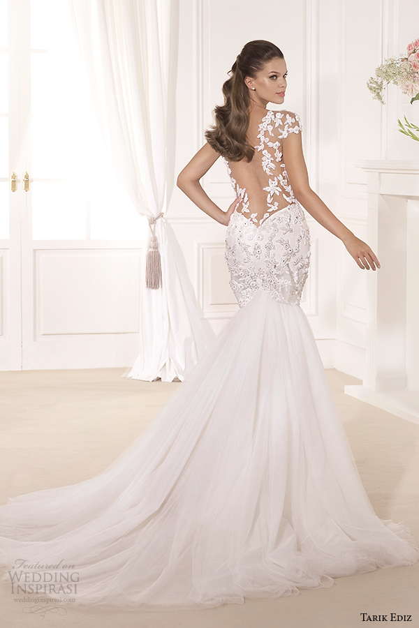 fit and flare wedding dress with sleeves. tarik ediz 2014 bridal collection sweetheart cap sleeves fit and flare wedding dress back gardenya g1119 with