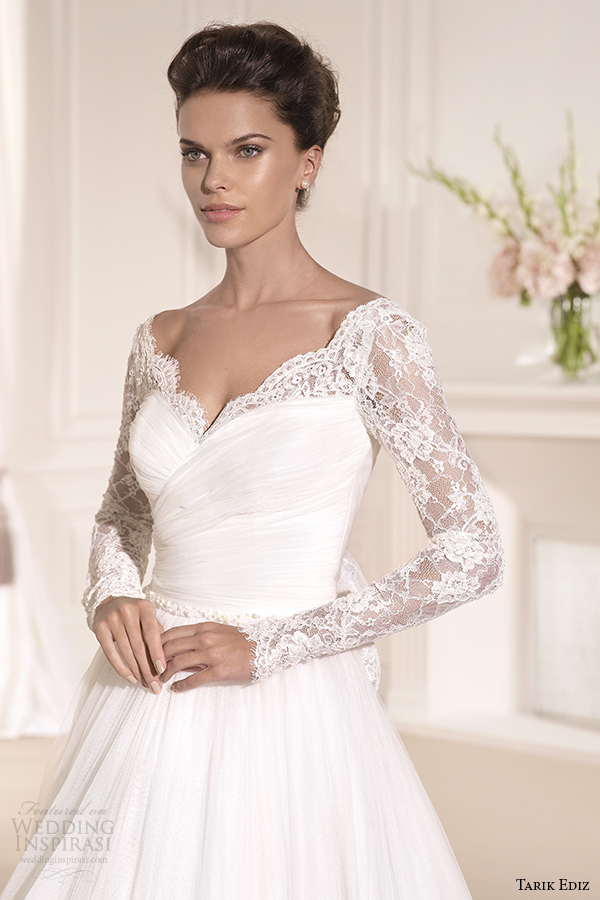 tarik ediz 2014 bridal collection sweetheart long sleeves lace a line wedding dress 1 front zoom gelincik g1110