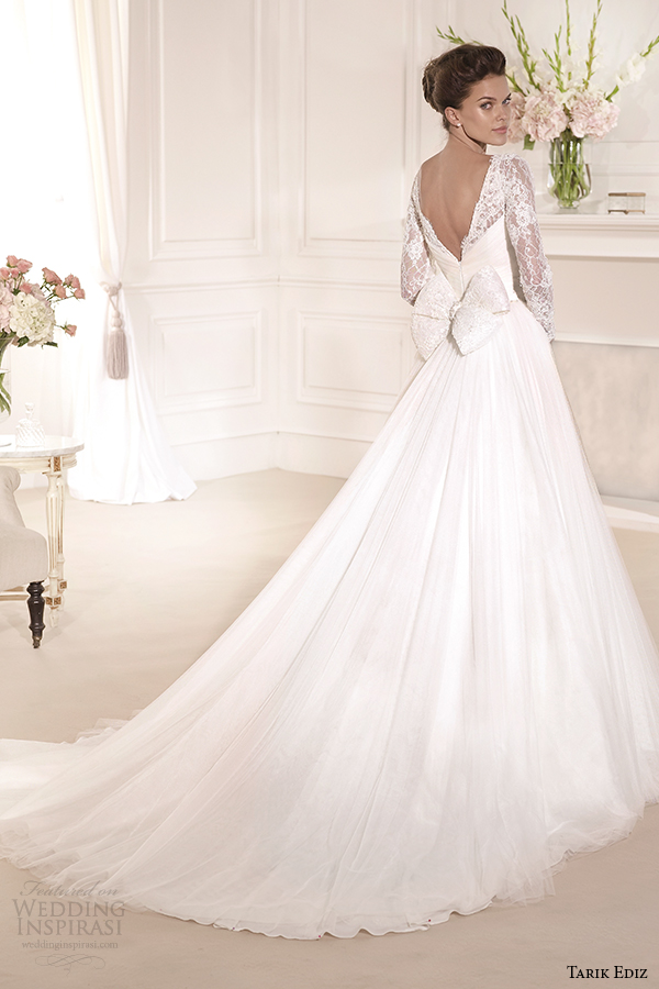 tarik ediz 2014 bridal collection sweetheart long sleeves lace a line wedding dress back gelincik g1110