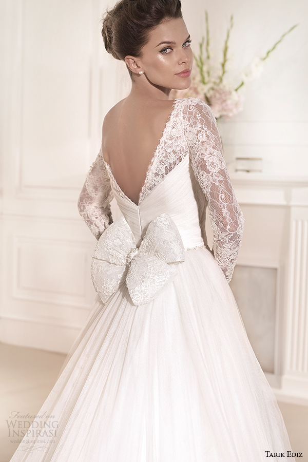 tarik ediz 2014 bridal collection sweetheart long sleeves lace a line wedding dress back zoom gelincik g1110
