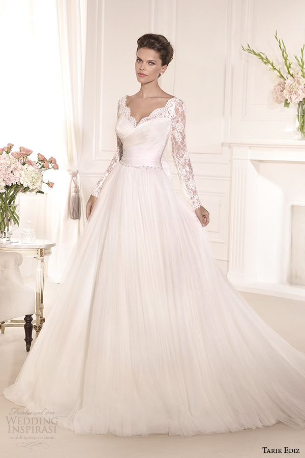 tarik ediz 2014 bridal collection sweetheart long sleeves lace a line wedding dress gelincik g1110
