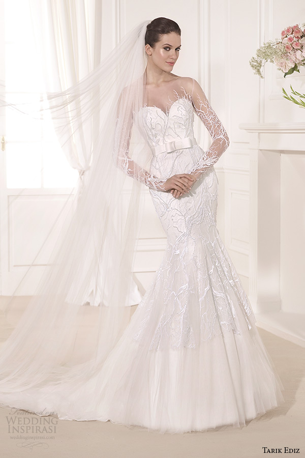 tarik ediz 2014 bridal collection sweetheart neckline long sleeves mermaid wedding dress sarmasik