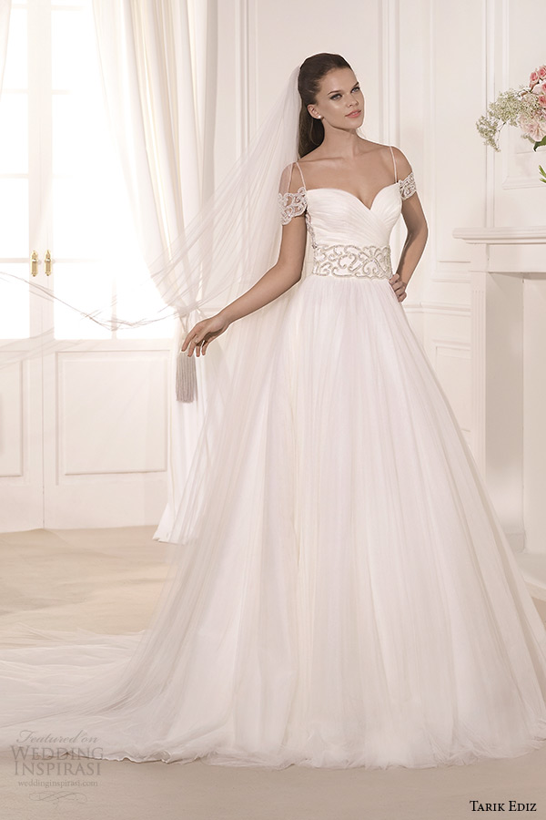 tarik ediz 2014 bridal collection sweetheart neckline off the shoulder a line wedding dress sardunya