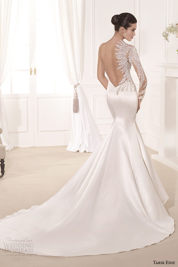 tarik ediz 2014 bridal collection sweetheart neckline single long sleeves mermaid wedding dress yaprak b