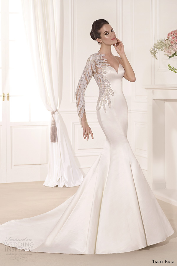 tarik ediz 2014 bridal collection sweetheart neckline single long sleeves mermaid wedding dress yaprak