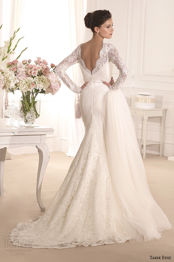 tarik ediz 2014 bridal collection v neck long sleeves trumpet wedding dress lavanta back