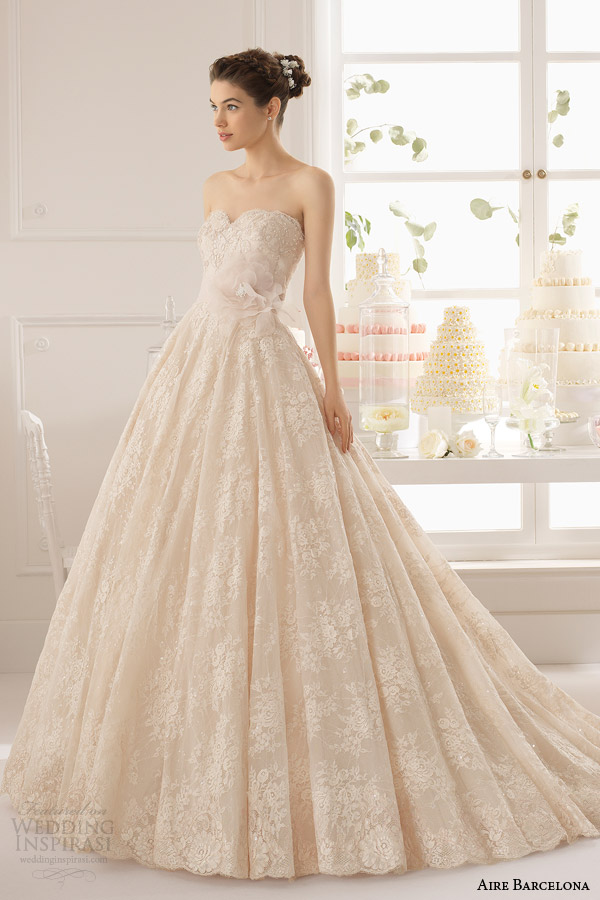 aire barcelona 2015 azuzena strapless champagne colored lace wedding dress