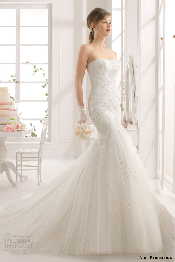 aire barcelona 2015 bridal alejandra strapless wedding dress