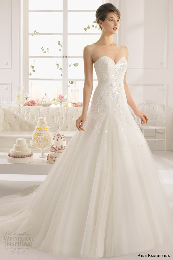 aire barcelona 2015 bridal alessia strapless sweetheart wedding dress