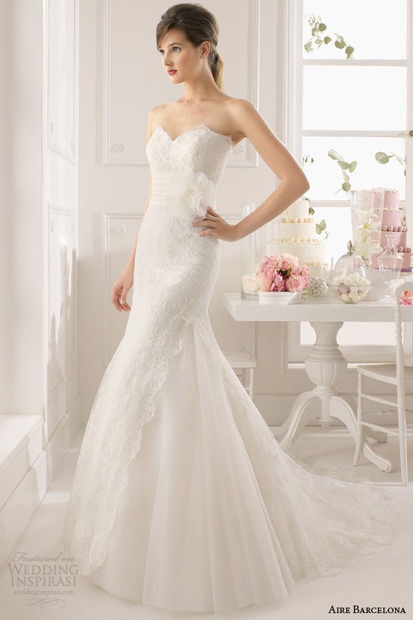 aire barcelona 2015 bridal amapola strapless lace wedding dress
