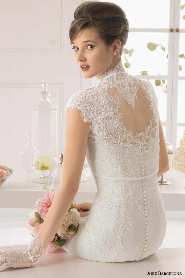 aire barcelona 2015 bridal amaya strapless lace wedding dress cap sleeve cover up illusion back