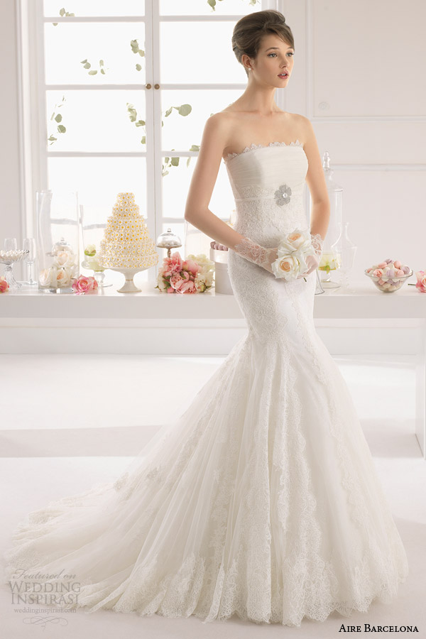 aire barcelona 2015 bridal amaya strapless lace wedding dress