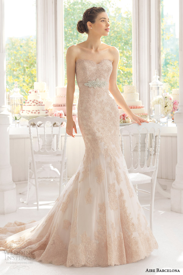 aire barcelona 2015 bridal amelie strapless colored lae wedding dress