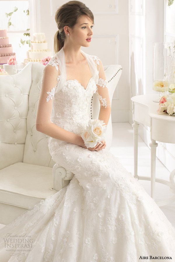 aire barcelona 2015 bridal america strapless sweetheart wedding dress sheer tulle jacket