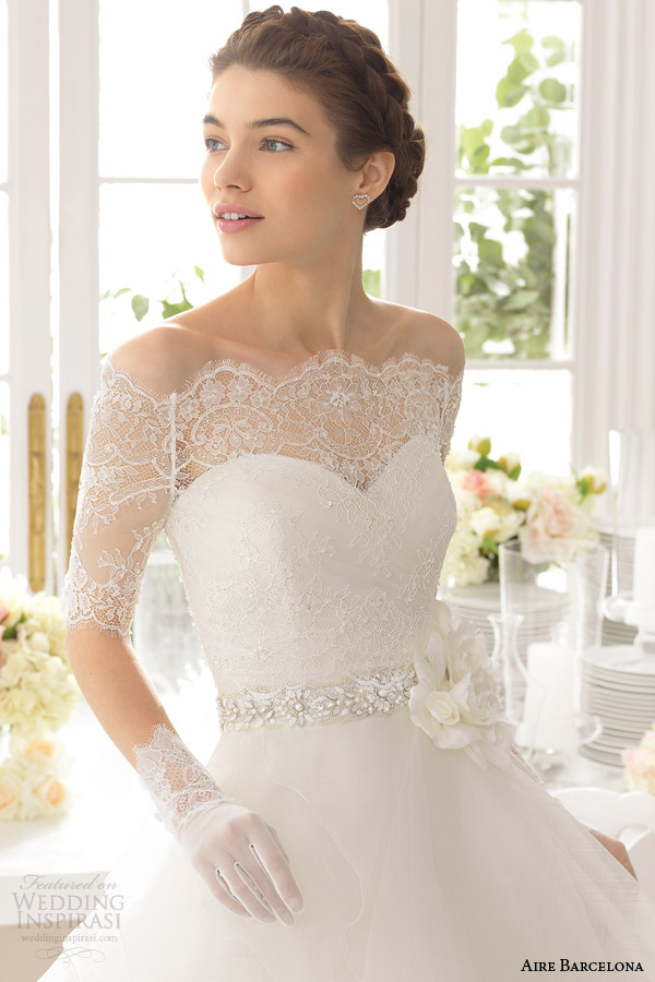 aire barcelona 2015 bridal aneto beautiful strapless wedding dress tiered skirt off shoulder lace top