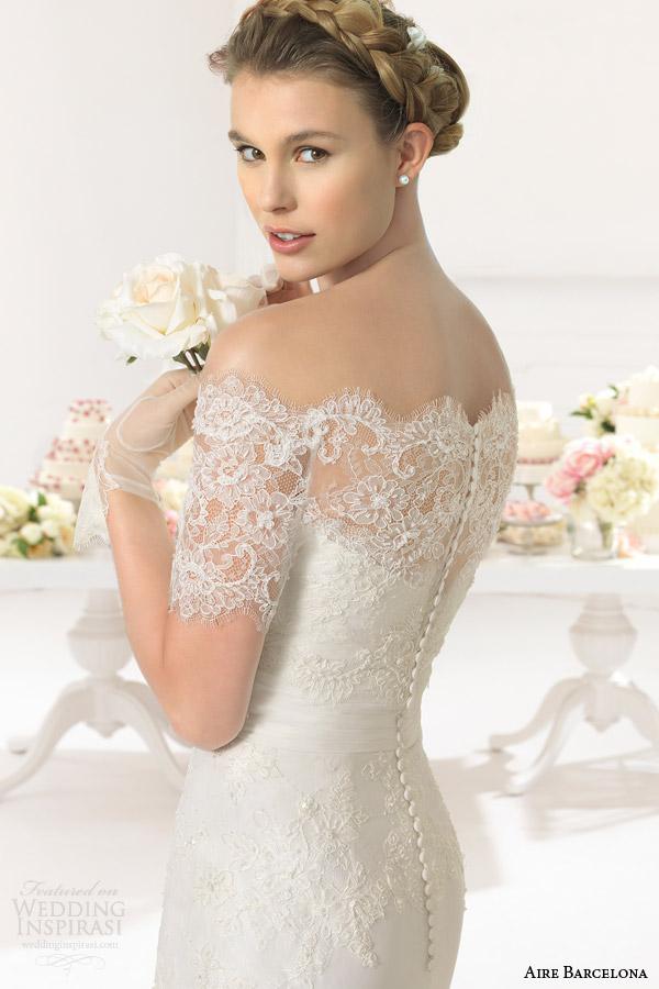 aire barcelona bridal 2015 áfrica casamento strapless vestido fora do ombro jaqueta de manga curta