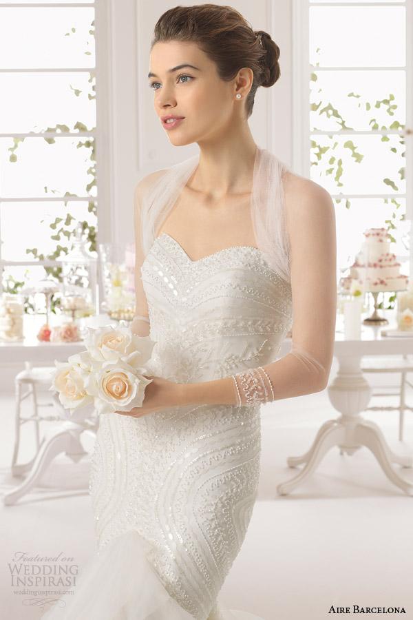 aire barcelona bridal 2015 alaska strapless vestido de casamento frisado corpete plissado saia manga longa jaqueta de tule