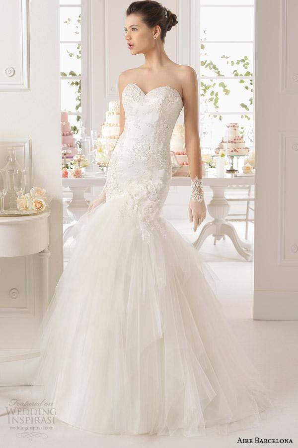 aire barcelona bridal 2015 alba strapless caber e flare vestido de noiva