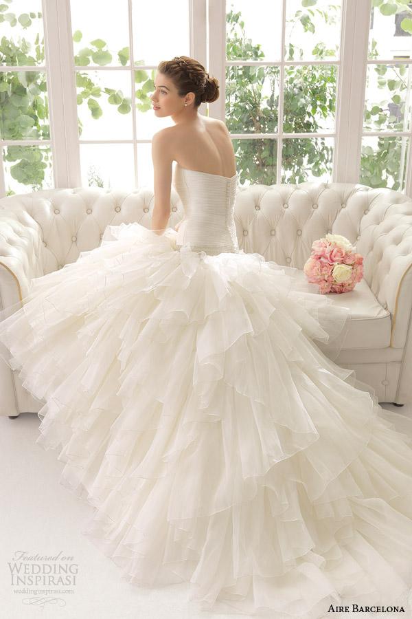aire barcelona bridal 2015 anat vestido de casamento da cintura queda strapless plissado saia