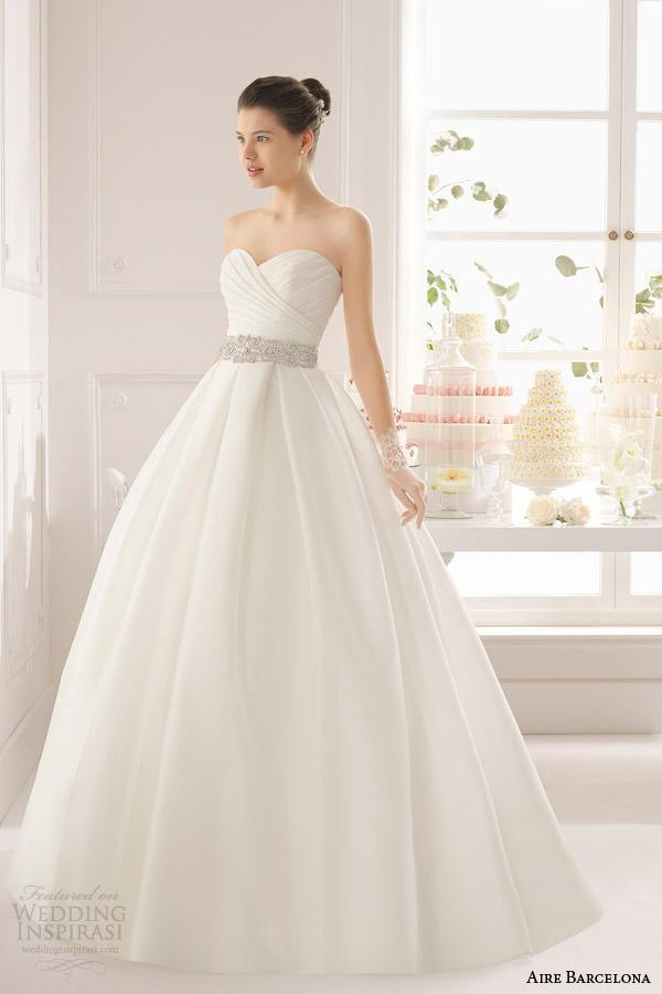aire barcelona bridal 2015 aralia vestido de casamento vestido de baile sem alças sobrepeliz decote