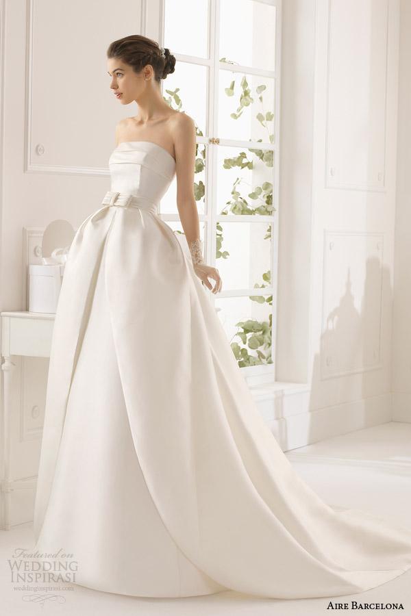 aire barcelona bridal 2015 armila bola vestido de noiva coluna strapless vestido longo saia