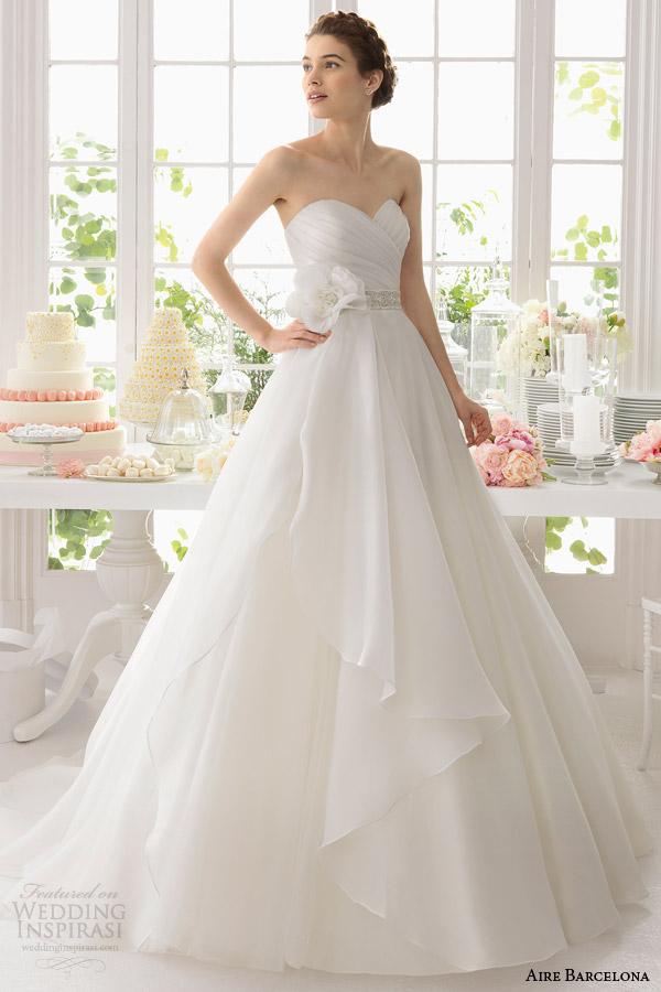 aire barcelona bridal 2015 armonia vestido de casamento vestido de baile sem alças querida sobrepeliz