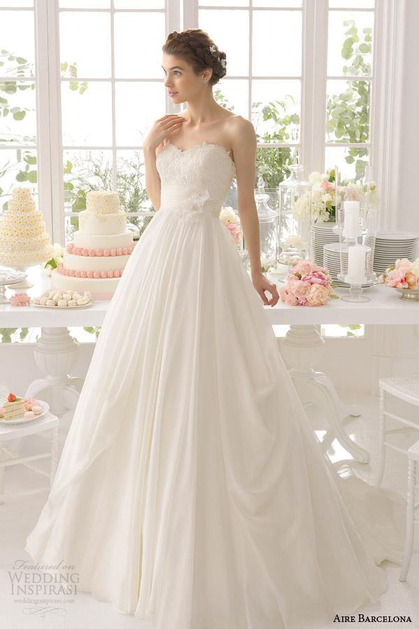 aire barcelona bridal 2015 asis querida strapless vestido de casamento vestido de bola pegar saia